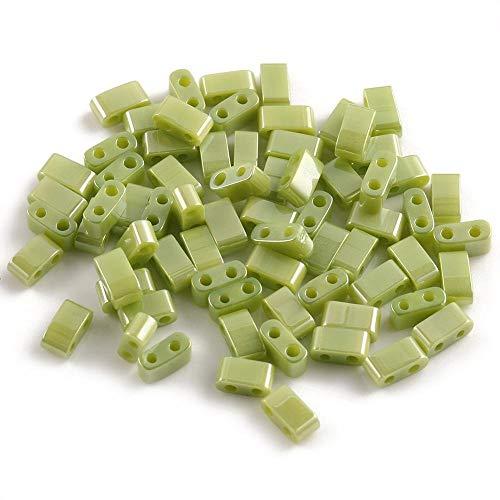 KUQIQI Cuentas de Vidrio de Vidrio de Doble Orificio Mixto Charm pood Spaceer Beads, Usado en joyería Hacer Bricolaje Pulsera Pendiente Accesorios (Color : Mint Green Plated, Talla : 5x5x2mm 50pcs)