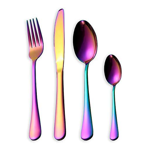 HOMQUEN Juego de Cubiertos, Juego de Platos y Cubiertos de Colores, Servicio de Juego de Acero Inoxidable para 6 Personas, Cubiertos de Comedor de 24 Piezas (Color arcoíris)