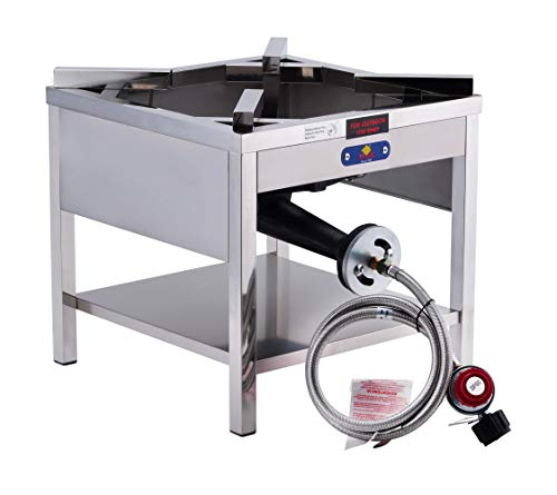 ARC SS4242S Propane Burner, 0-20 PSI Regulator& Braided Hose, Stainless Steel Portable Propane Burner, Perfect for Outdoor and Backyard Cooking, Turkey Fry, home brewing and more, 200,000 BTU