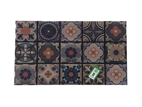 De'Carpet Felpudo Entrada Casa Original Divertido Moderno Fibra Poliester Fregable Baldosa Hidráulica 40x70