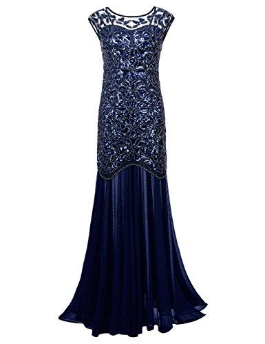 kayamiya Damen 1920er Jahre Perlen Pailletten Floral Maxi Lange Gatsby Flapper Abendkleid 44-46 Blau