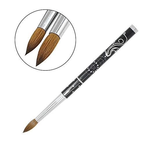 1PCS Eval 100% Kolinsky Sable Brushes Acrylic Nail Brush Professional UV GEL Nail Art Tool for Manicure Powder Pedicure metal handle (10)