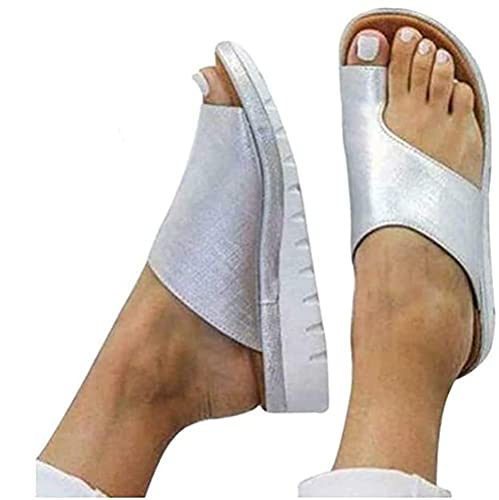 Algus Sandalias De Juanete Sandalias De Corrección Ósea del Dedo Gordo Zapatos Ortopédicos De Pie con Nudo De Lazo con Soporte De Arco Zapatillas Viaje De Playa Antideslizantes,36