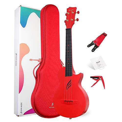 """Concert Ukulele Enya Nova U Beginner Ukulele Kit 23"""" Carbon Fiber Ukulele Kit with Case, Strap, Capo, Ukulele Strings (Red Red)"""