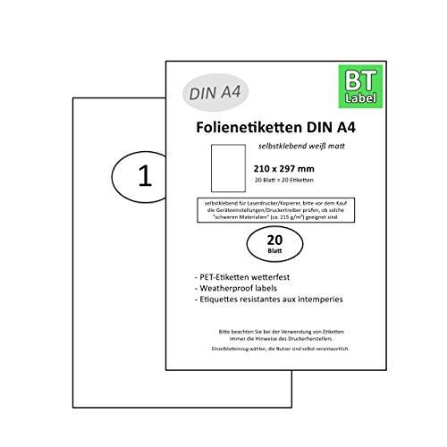 BT-Label 20 Aufkleber auf 20 DIN A4 Blatt Klebefolie Etiketten Wetterfest 210 x 297 mm weiß Wasserfest selbstklebend Folienetiketten bedruckbar Laserdrucker zum Beschriften