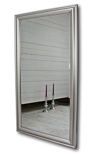 elbmöbel 132 x 72cm Wandspiegel in Silber mit Holz-Rahmen und Facettenschliff