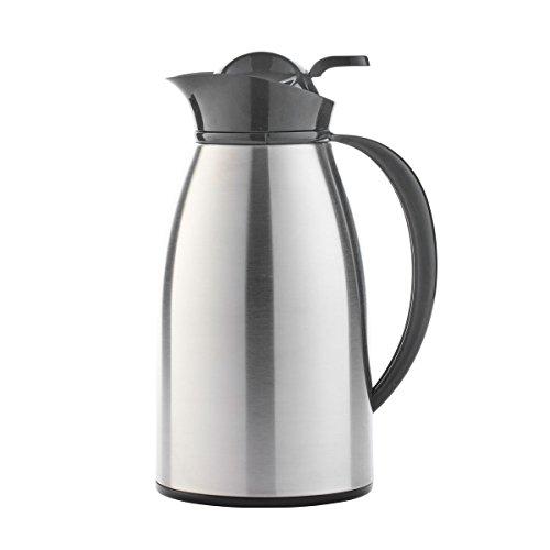 axentia Isolierkanne in Silber, Warmhaltekanne aus rostfreiem Edelstahlkörper, Kaffeekanne mit Glaseinsatz und Einhand-Ausgießautomatik, Teekanne mit Kunststoff-Griff, Volumen: ca. 1 L