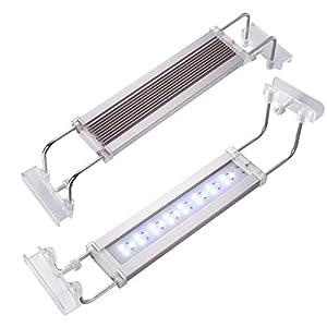 UEETEK LED Aquarium Light, Adjustable Full Spectrum Fish Tank Lamp, White and Blue LEDs, Size 15 to 23 inch, 12 Watts