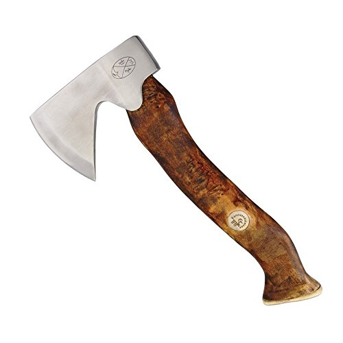 "Karesuando Kniven Stuorra Aksu Big Axe Hatchet 11.5"" Overall, Brown Oiled Curly Birch Handle, Leather Sheath - 4014"