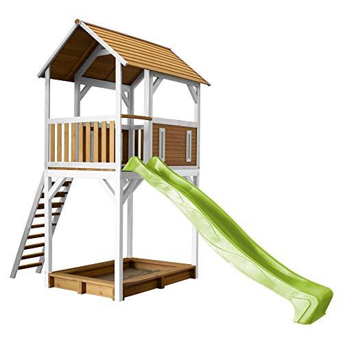 AXI Spielhaus Dory mit Sandkasten & hellgrüner Rutsche | Stelzenhaus in Braun & Weiß aus FSC Holz für Kinder | Spielturm für den Garten