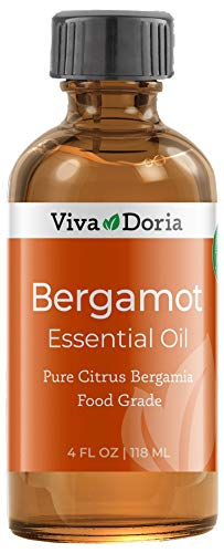 Viva Doria 100% Pure Bergamot Essential Oil, Undiluted, Food Grade, Italian Bergamot Oil, 4 Fluid Ounce (118 mL)
