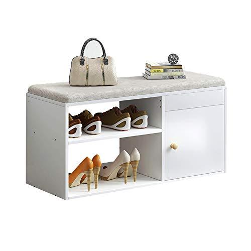 JBTM Banco De Almacenamiento De Zapatos Organizador 2 Niveles con Asiento De Cojín Acolchado, con Marco De Madera, para Entrada, Pasillo, Sala De Estar, Muebles