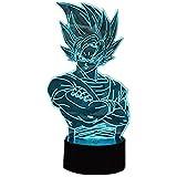 Anime Dragon Ball Z Super Saiyan 3D Estéreo Visión nocturna Juego de luces Lámpara de cabecera Lámpara de escritorio Lámpara de escritorio táctil Control remoto 16 Color para niños Regalo creativo (Su