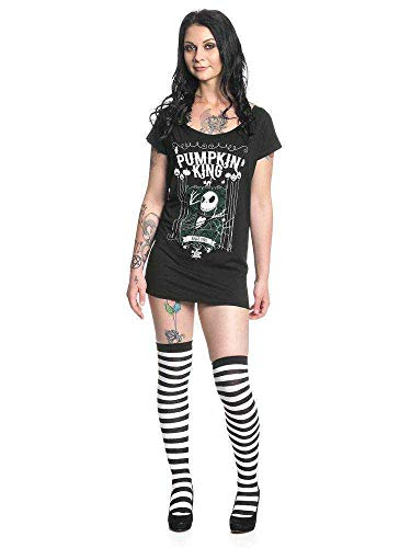 Pesadilla Antes De Navidad Jack Skellington - Pumpkin King Mujer Camiseta Negro L, 100% algodón, Ancho