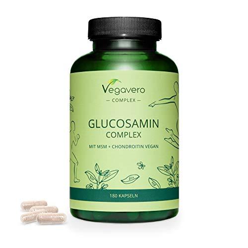 Glucosamina Complex Vegavero® | La Única Vegana & Sin Aditivos Artificiales | Con Condroitina Vegana + MSM + Harpagofito + Vitamina C | Antiinflamatorio Natural Articulaciones* | 180 Cápsulas