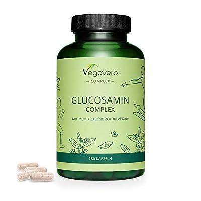 GLUCOSAMIN CHONDROITIN Vegavero ® | EINZIGARTIG VEGAN | mit MSM, Teufelskralle, Vitamin C und Zink | Für Gelenke & Knochen* | 180 Kapseln | Ohne Zusatzstoffe & Gelatine