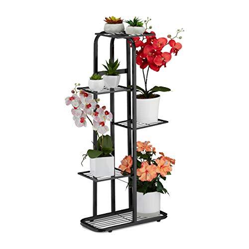 Relaxdays Blumentreppe Metall, Blumenständer mit 5 Ablagen, pulverbeschichtet, Pflanzregal, 97 x 43,5 x 24,5 cm, schwarz