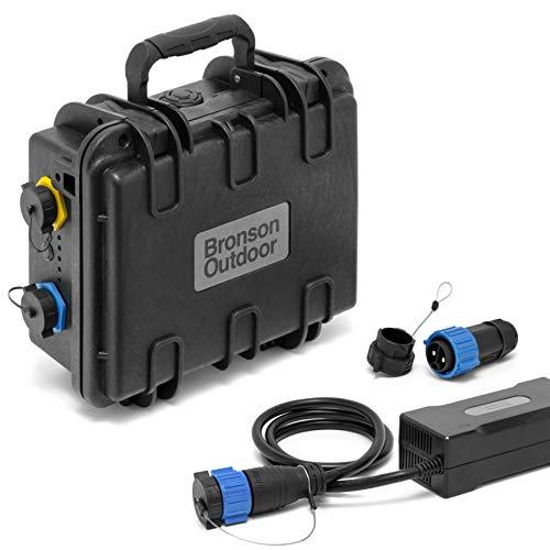 Bronson Outdoor MB 35 12V Lithium-Ionen Batterie 35Ah wasserdicht für Bootsmotoren, inkl. 5A Ladegerät und Anschlussstecker