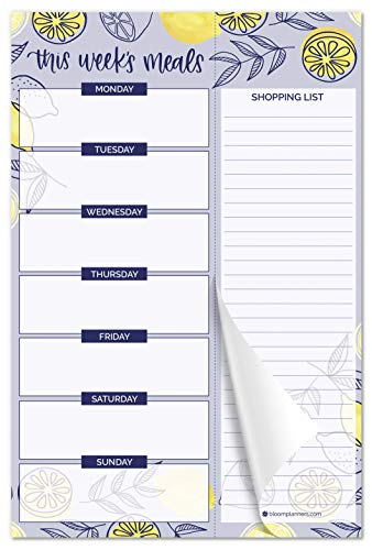 """bloom daily planners Weekly Magnetic Meal Planning Pad for Fridge with Tear-Off Grocery Shopping List - Hanging Food/Menu Organizer Notepad with Magnets - 6"""" x 9"""" - Lemons"""