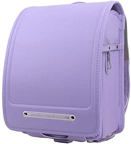 HongTeng Mochilas Escolares japoneses con Gran Capacidad for los Estudiantes de la Escuela Primaria de Cuero de PU de Cierre automático de los niños Mochila for niños y niñas (Color : Purple)