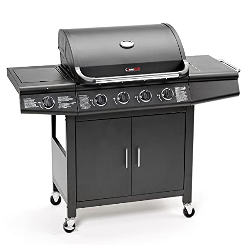 CosmoGrill Deluxe 4+1 Gas Burner Grill BBQ Barbecue incl. Side Burner - Black