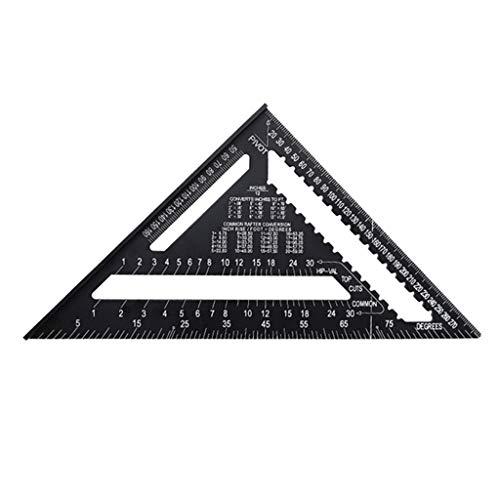 ZJL220 7/12 pulgadas aleación de aluminio regla de medición triangular carpintero ángulo cuadrado transportador