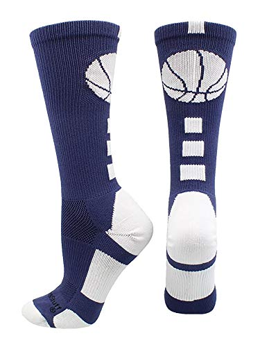 MadSportsStuff Basketball Logo Athletic Crew Socks, Medium - Navy/White