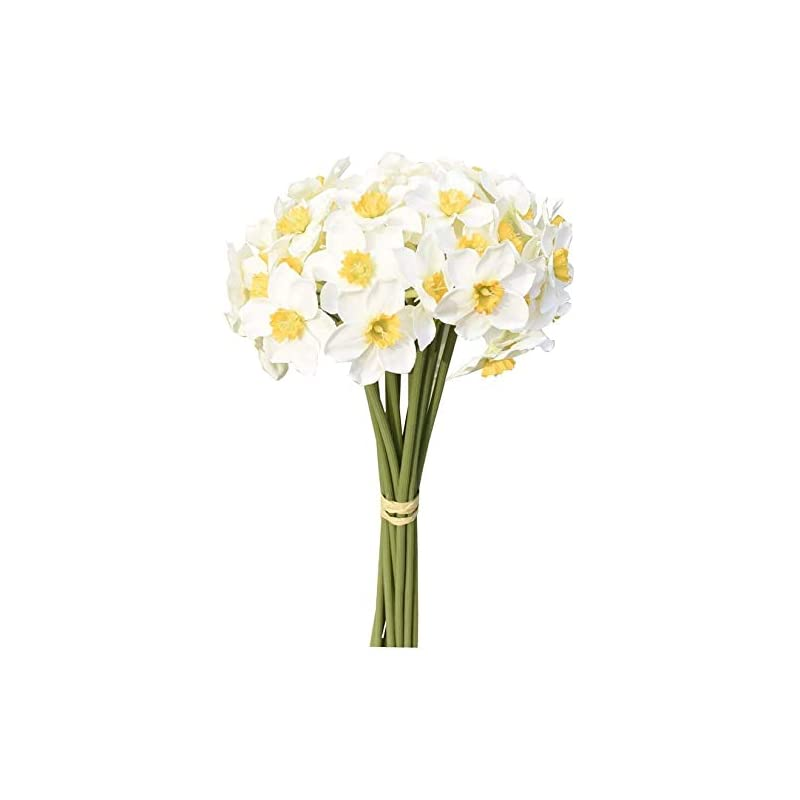 silk flower arrangements hoveyy 12pcs white artificial daffodils flowers,artificial narcissus flower bouquet,faux daffodils plants flower arrangement for party home decoration