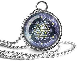 Antahkarana Necklace, Chakra Pendant, Tibetan, Reiki Healing Symbol Image Key Chain Handmade