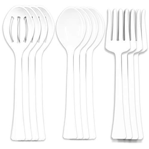 """12 White Plastic Serving Utensils 115"""" Length 4 Spoons 4 Forks 4 Strainer Spoons Large Disposable Utensils Buffet Catering Parties"""