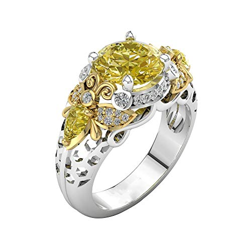 Auwer Rings, 2-in-1 Womens Vintage White Diamond Silver Engagement Wedding Band Ring Set (US Size 8, Multicolor)
