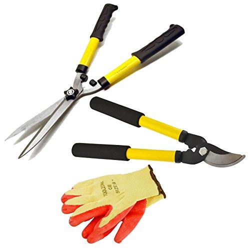 AB Tools Jeu d'outils de Jardin Taille-haie Cisaille Coupe-Élagueurs Sécateurs Gants de Protection