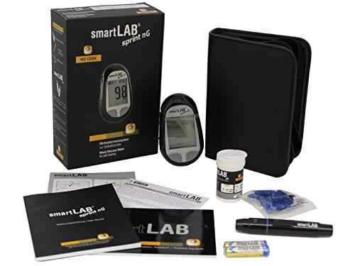 smartLAB sprint nG Blutzuckermessgerät Set mmol/L in Schwarz mit 10 Teststreifen und 10 Lanzetten mit großem Display