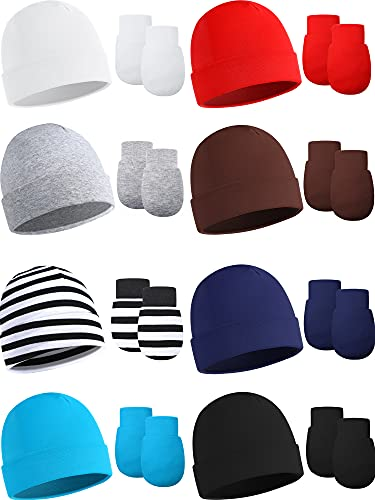 16 Pieces Newborn Hats and Mittens Set Unisex Baby Beanie Hats Gloves Set Knit Soft Beanie Cap Non Scratch Mittens Autumn Winter Solid Infant Baby Hats for 0-6 Months