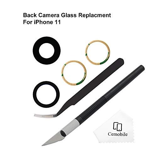 Cemobile Rückkamera Objektiv Glas Ersatz kompatibel mit iPhone 11 6.1 Zoll mit Kleber Antistatische Pinzette Präzisionsmesser Reparatur Werkzeug Kit