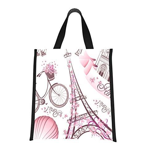 Novedad Lunchbag Torre Eiffel Notre Dame De Paris Viajes románticos en Francia Bolsas frigoríficas para niñas Lonchera reutilizable, plegable Mantiene la comida caliente/fría para muj
