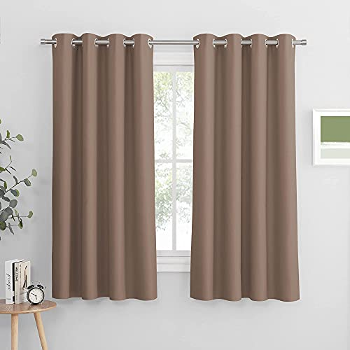 PONY DANCE Home Decor Curtains - Solid Thermal Insulated Blackout Curtain Panels Light Blocking Short Draperies Window Treatments for Bedroom & Kitchen, 52 Wide by 63 in Long, Mocha, 2 Pieces