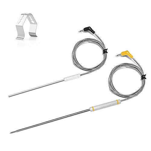 2-Pack Replacement Probe for Thermopro TP20 TP25 TP08 with Probe Clip Holder, Thermopro Replacement Meat Probe Ambient Probe for TP20 TP25 TP27 TP16 TP08 TP17 TP07 TP17H TP28