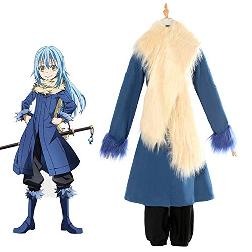 GGOODD Rimuru Tempest Abrigo Azul Anime That Time I Got Reincarnated As A Slime Cosplay Costume Halloween Party Mujer Top + Pantalones + Bufanda Conjunto De 3 Piezas,Azul,M