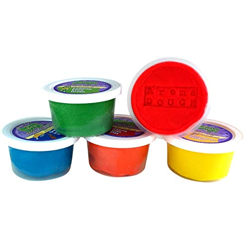 Aroma Dough Gluten-Free, Soy-Free, Play Dough for Kids, Eco Friendly Playdough Set (5 Pack) All Natural Aromas! NO Chemical PRESERVATIVES! Perfect Christmas Stocking Stuffers! Made in USA!