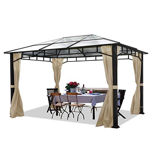 TOOLPORT Gartenpavillon 3x4 m Aluminium Gestänge Polycarbonat Dach 8mm Pavillon Gartenzelt 4 Seitenteile Champagner
