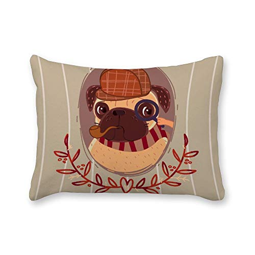 Yilooom 12 X 16 Inch Set of 2 Lumbar Pillowcases Throw Pillow Cases Cushion Covers For Bed Sofa Couch Car, Pug Sherlock