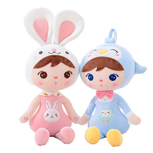 Gloveleya Baby Toys Baby Doll Girl Gift Stuffed Animal Plush Toy for Girl Bunny & Penguins 18 Inches with Box