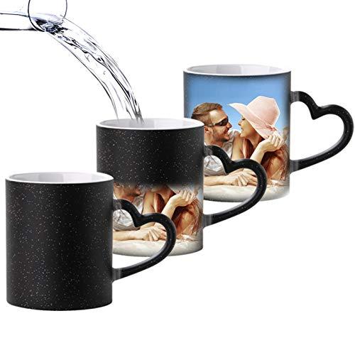 Cofest Personalisierte Zaubertasse mit Ihrem Foto Tasse Farbewechsel - Herzhenkel Kaffeetasse Wärmeempfindliche Sublimation Geschenk Cup 350ml