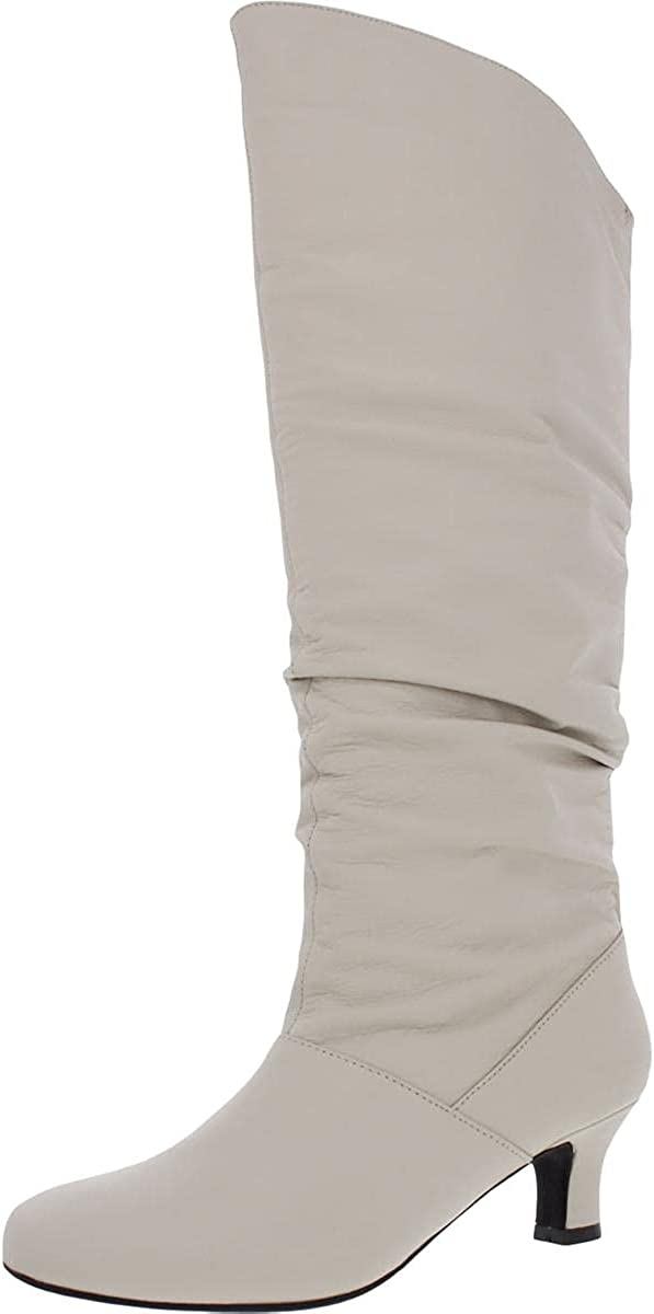Array Womens Groove 14 Leather Round Toe Knee-High Boots Ivory 12 Medium (B,M)
