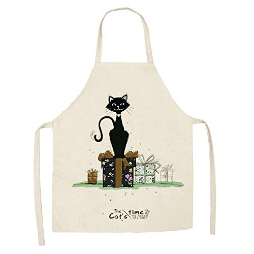 Delantal de cocina de delantal de gato lindo de dibujos animados creativos para hombres y mujeres que imprimen delantal de algodón y lino sin mangas herramientas de limpieza del hogar 68 * 55cm-A3_XS