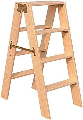 HOMRanger Madera sólida Taburete 4 peldaños de la Escalera Plegables de múltiples Funciones de la Plataforma Ascendente Escalera hogar Escalera Larga Etapa Espesado de Escalera Escaleras de Madera: Amazon.es: Hogar