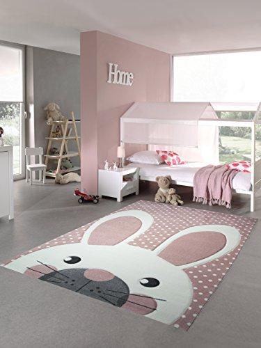 Kinderteppich Spielteppich Teppich Kinderzimmer Babyteppich Hase in Rosa Creme Grau Größe 80x150 cm