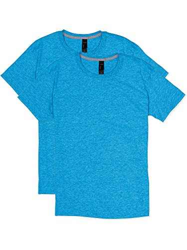 Hanes Men's 2 Pack X-Temp Performance T-Shirt, Neon Blue Heather, Large