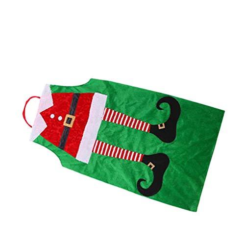LUOEM Delantal de Navidad Elfo de Terciopelo Delantal de Cocina Delantal de Navidad Traje de Navidad para La Cocina Casera
